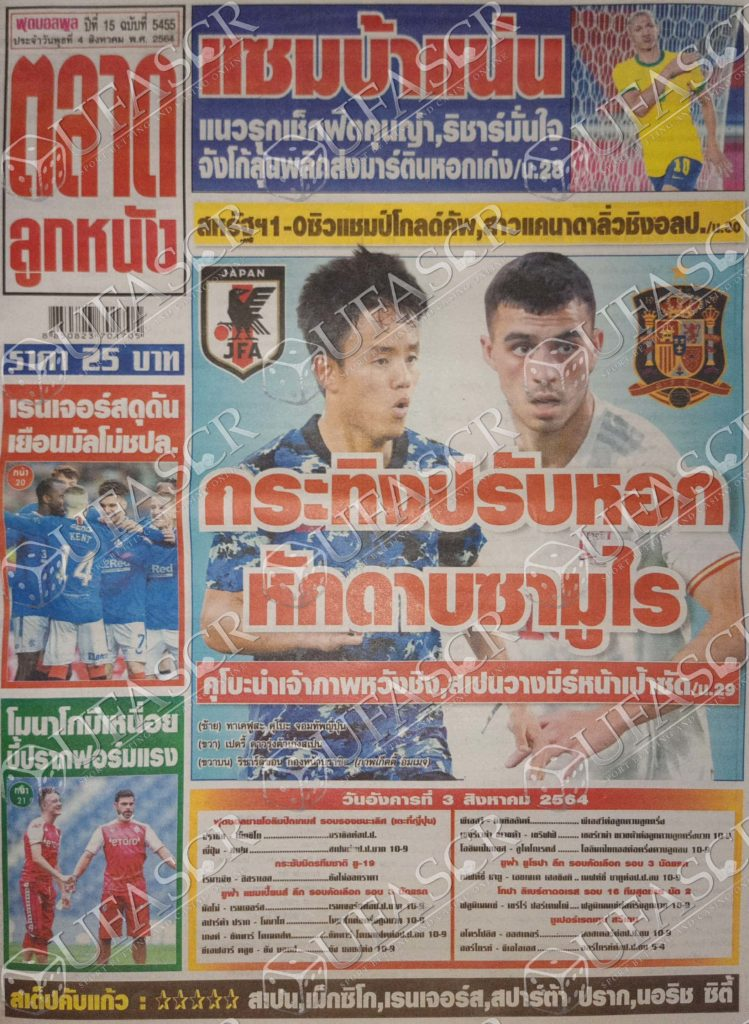 หนังสือพิมพ์กีฬา ตลาดลูกหนัง ประจำวันที่ 03/08/2021