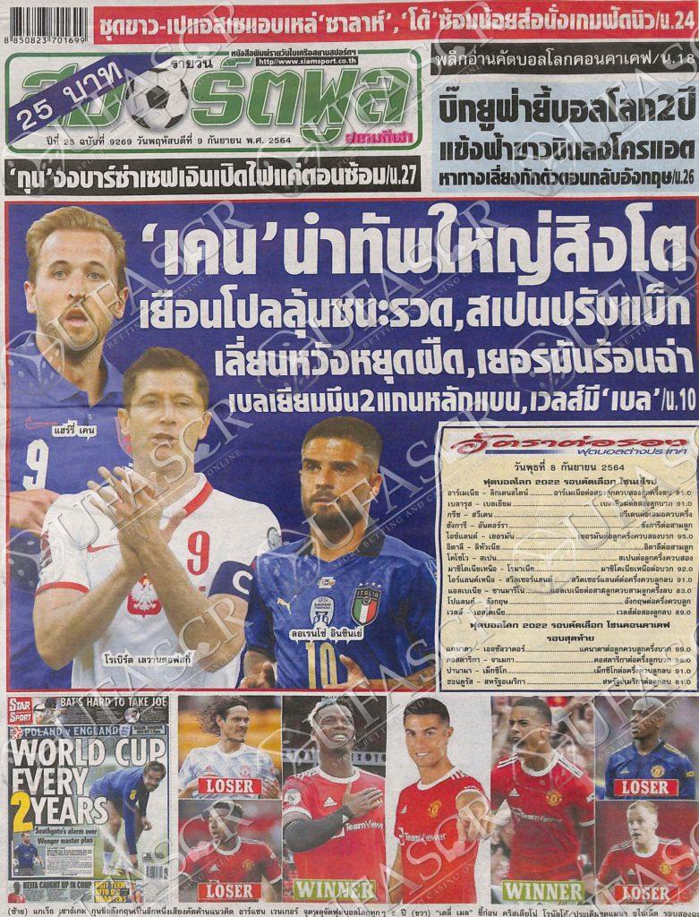 หนังสือพิมพ์กีฬา สปอร์ตพูล ประจำวันที่ 08/09/2021